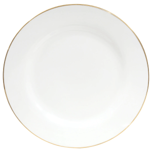 10.5 in. White Stoneware Dinner Plate with Gold Rim