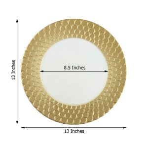 13″ Round Plastic Charger Plates With Mermaid Scale Trim