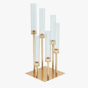 24″ | 6 Arms Gold Cluster Candle Holder With 6 Glass Shades