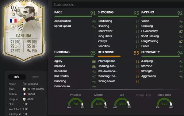 French striker eric cantona is one of them and he gets a triple threat of moments cards. Fifa 21 Eric Cantona Icon Sbc Gunstigste Losungen Belohnungen Statistiken Komponenten Pc