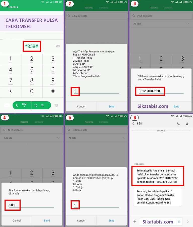 Caranya mudah saja yaitu kirim sms ke nomor 151 dengan format transferpulsa (spasi) nomor tujuan (spasi) nominal. 4 Cara Transfer Pulsa Telkomsel (simPATI / As / Loop ...
