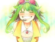 green hair gumi headphones microphone
