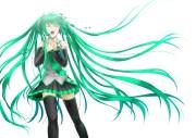 green hair hatsune miku long