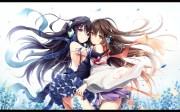 2girls akkijin black hair blue