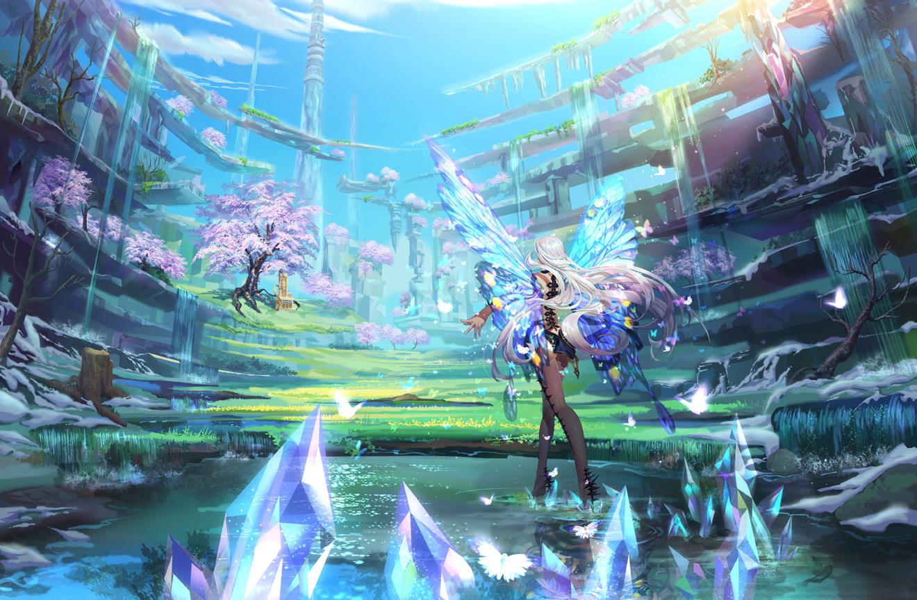 Anime Girl Wallpaper Rainbow Hair Anthropomorphism Butterfly Cherry Blossoms Grass Long Hair