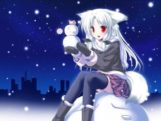 fox hair christmas eyes anime snow ears foxgirl collar konachan santa photoshop yuki mutsuki costume nightmares nightmare freddy scary always
