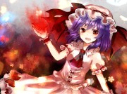 hat purple hair red eyes remilia