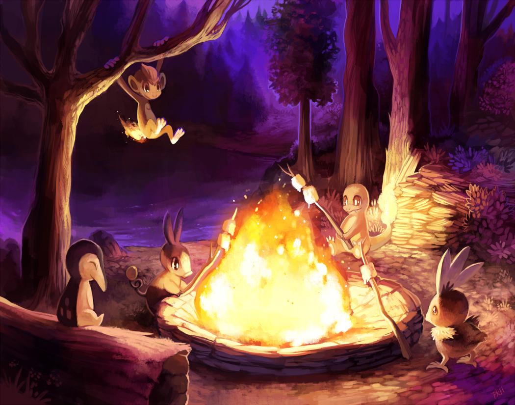Cute Raichu Wallpaper Animal Charmander Chimchar Cyndaquil Fire Forest Night