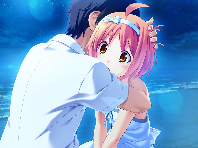 Cute Hug Wallpaper Beach Game Cg Hug Koutaro Kusakari Natane Loli Night Short