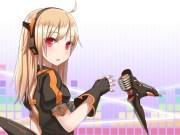 blonde hair gloves headphones microphone