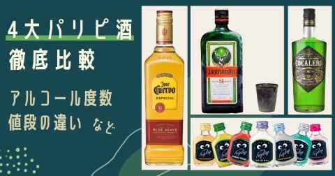 【テキーラ・クライナー・イェーガー・コカレロ】4大パリピ酒を比較!値段や度数の違い