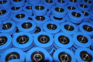 blue escalator rollers
