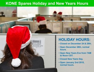 KONE Spares Holiday Hours for 2014-2015