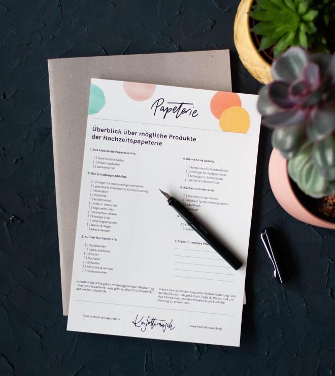 Checkliste Papeterie Hochzeit