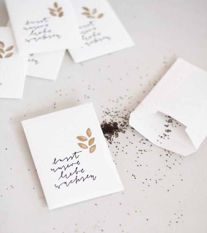 Lasst unsere Liebe wachsen Gastgeschenk Blumensamen
