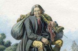 Et maleri af en svensk bissekræmmer i egnsdragt fra Västergötland med vadsæk på ryggen, som hviler sig på en jordhøj.