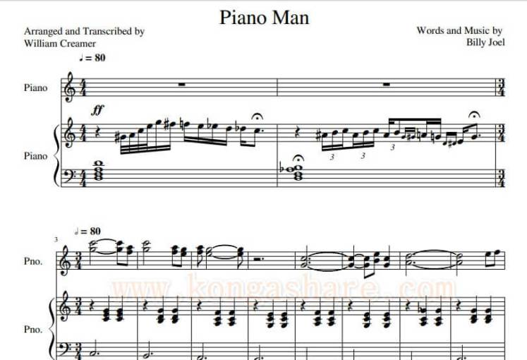 Download Piano Man Sheet Music (C Major) by Billy Joel_kongashare.com_mmn