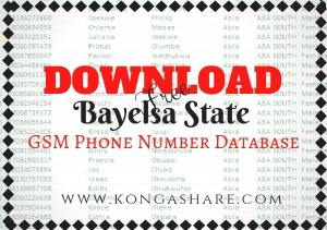 Download Free Bayelsa State GSM Phone Number Database kongashare
