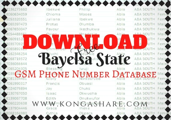 Download Free Bayelsa State GSM Phone Number Database kongashare