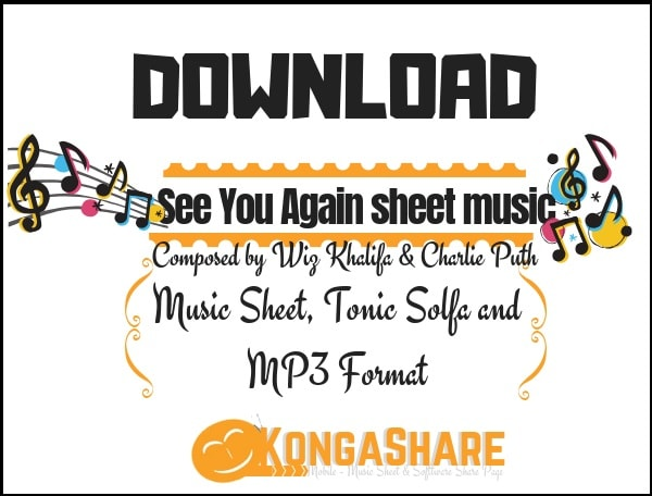 download see you again piano sheet music by wiz khalifa and charlie in PDF and MP3_kongashare.com_m