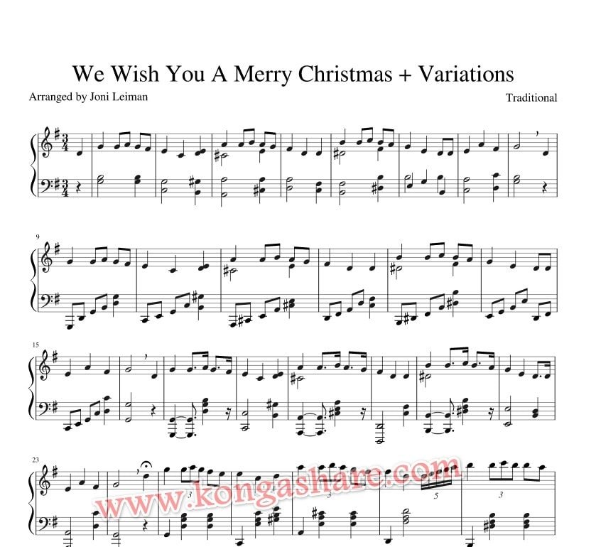 We Wish You A Merry Christmas Variations sheet music_kongashare.com_m