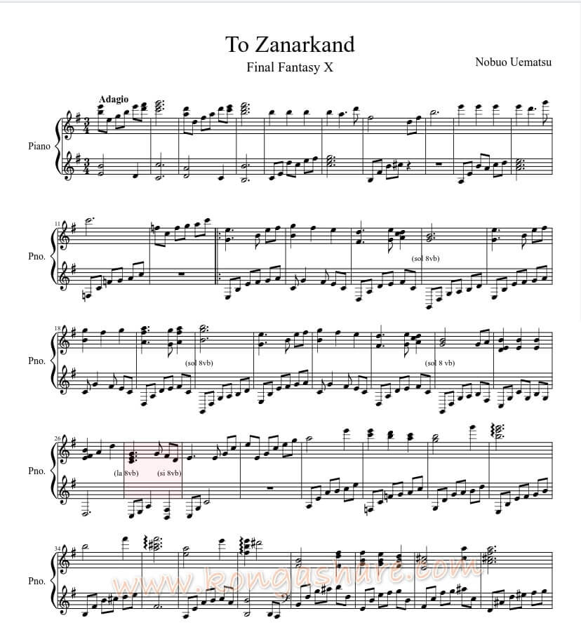 To Zanarkand sheet music - Final Fantasy X_kongashare.com_mmh