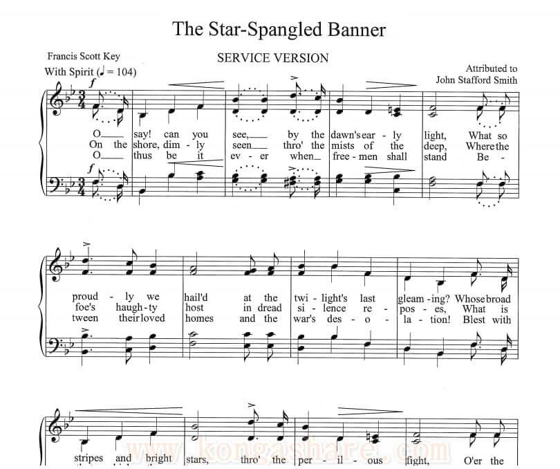 Star Spangled Banner Sheet Music Usa National Anthem In