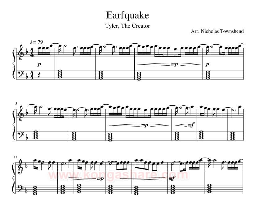 Earfquake Lyrics with Sheet Music for Piano