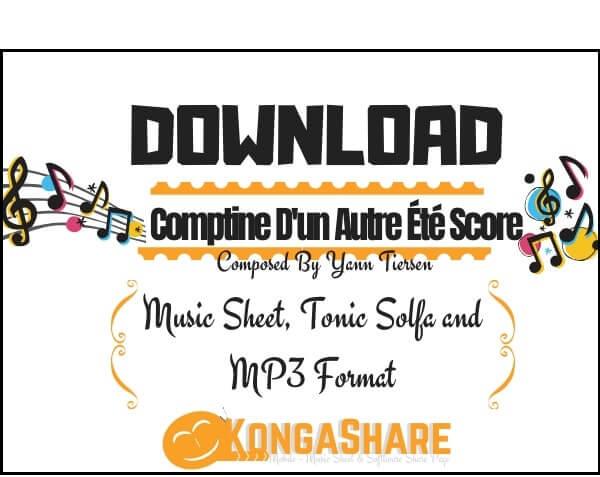 Comptine D'un Autre Été sheet music_kongashare.com_mn