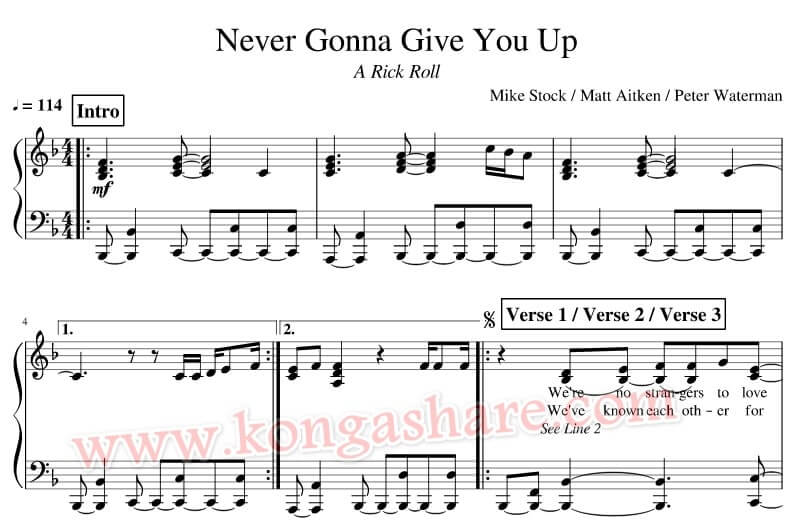 Never Gonna Give You Up sheet music_kongashare.com_mm