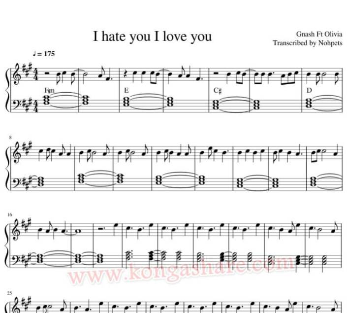 I hate you I love you piano sheet music_kongashare.com_n