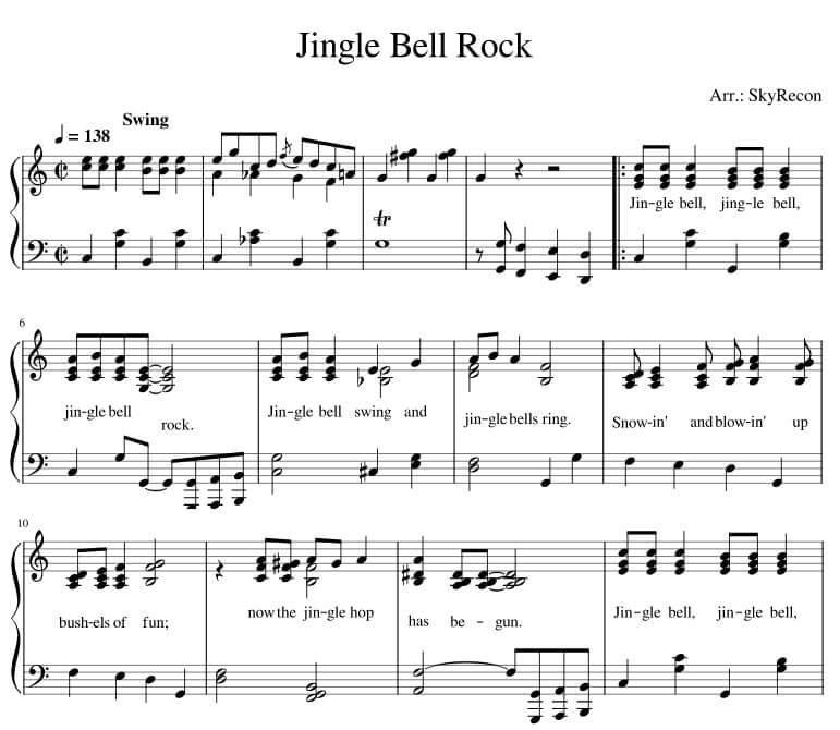 Jingle Bell Rock Piano sheet music lyrics pdf midi_kongashare.com_mv