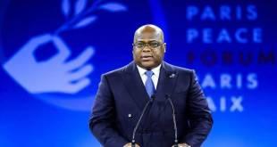 Felix-Antoine TSHISEKEDI TSHILOMBO, President de la RDC, lors de la peace conference a Paris en 2019.