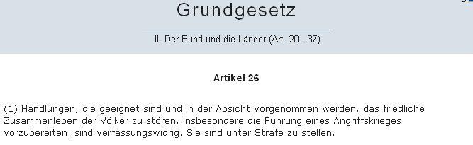 GG Artikel 26 Absatz 1 - Bildquelel: Screenshot-Ausschnitt www.dejure.org