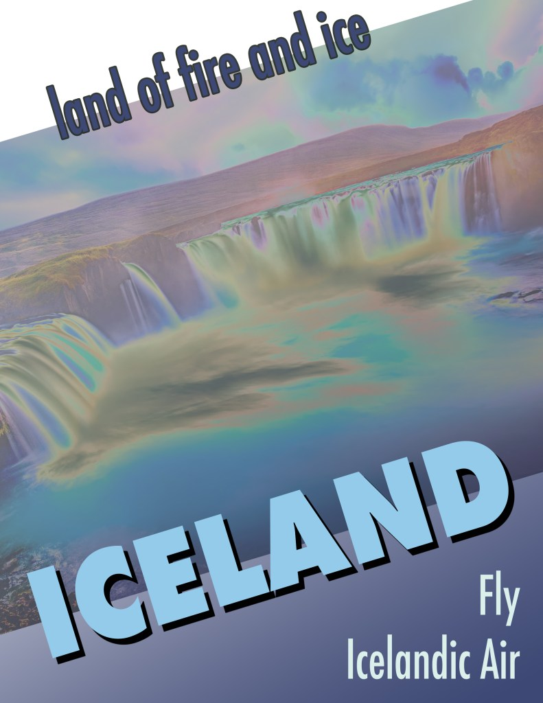 Iceland travel poster after the style of Herbert Matter.