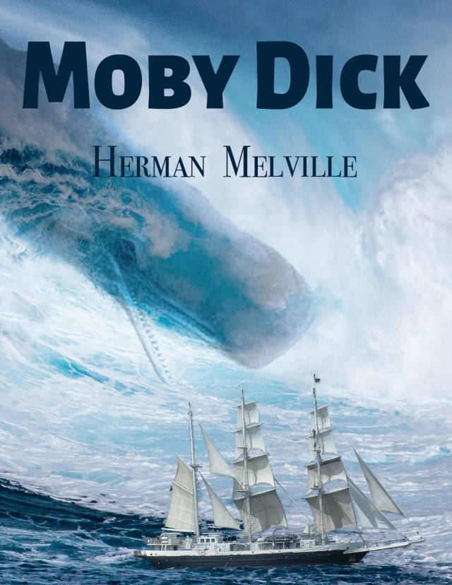 Alternative book cover for Herman Melville's classic novel, Moby Dick which features a whale riding down a wave and about to crush a sailing ship.