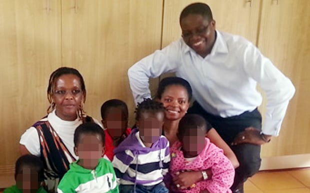 Dr Sylvester Nyatsuro and his wife Veronica with Grace Mugabe (left) during a visit to the orphanage she runs .jpg