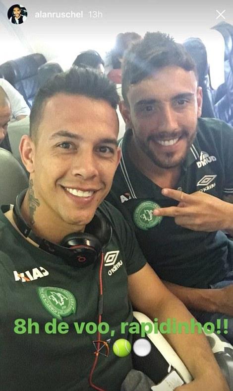 Goalkeeper Danilo  and Alan Ruschel pose for selfies before the crash1.jpg