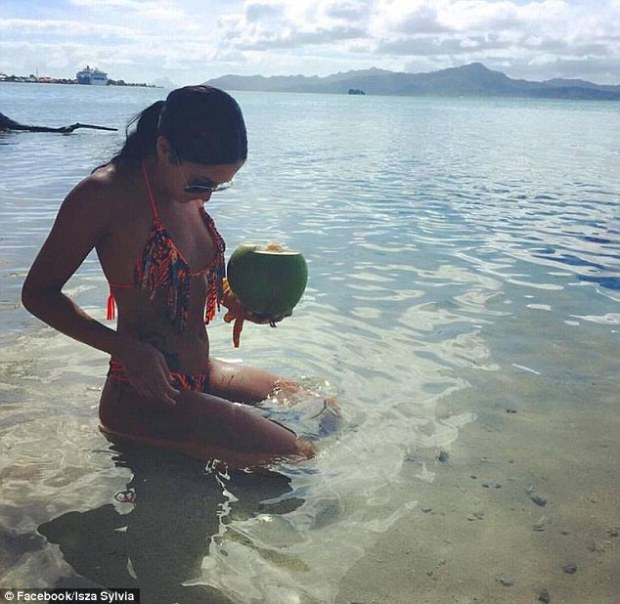 Lagacé on a beach in Tahiti.jpg