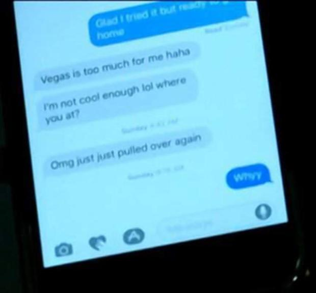 Anderson sent text to her boyfriend that she'd been pulled over around 4 a.m. Sunday.jpg