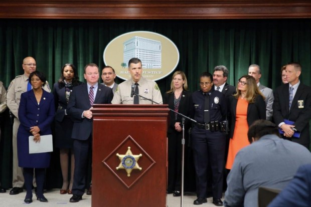 Los Angeles County Sheriff Jim McDonnell speaks Tuesday at a press conference announcing the results of Operation Reclaim and Rebuild.jpg