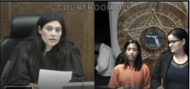 Samara Charlotin in Bond court