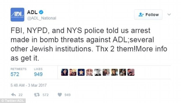 The ADL tweeted on Friday that the suspect behind the threat had been arrested.jpg