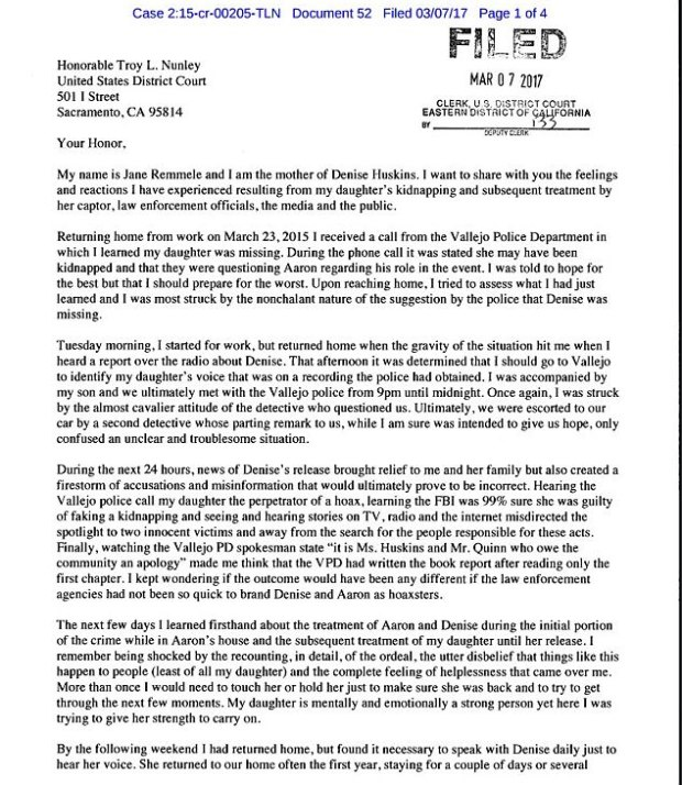The victim's mother Jane Remmele wrote a letter to U.S. District Judge Troy L. Nunley ahead of the sentencing on Thursday calling for the harshest sentence possible to be imposed1