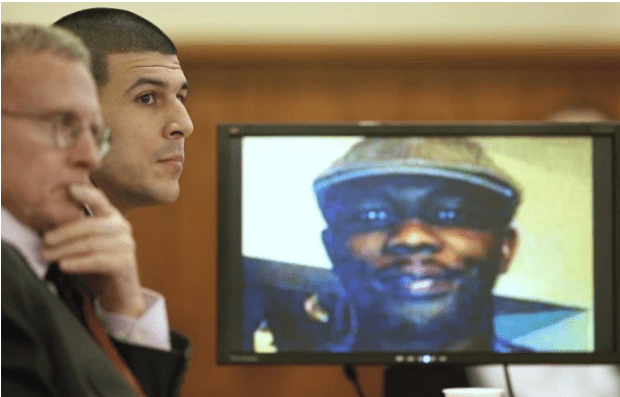 Hernandez died serving a life sentence for the death of Odin Lloyd, [photo on the screen] in the courtroom in January, 2015..png