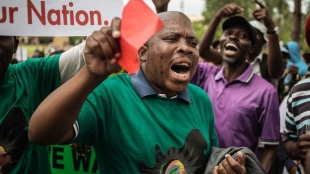 Protesters in Pretoria demanded that President Zuma step down.jpg