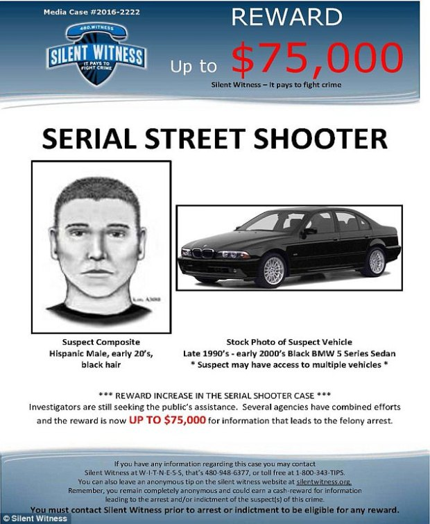 $75,000 reward was posted for information leading to serial killer's arrest