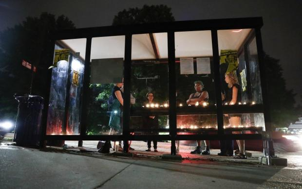 Candlelight vigil at a bus shelter where the victim was fatally stabbed at UMC, College Park1.jpg