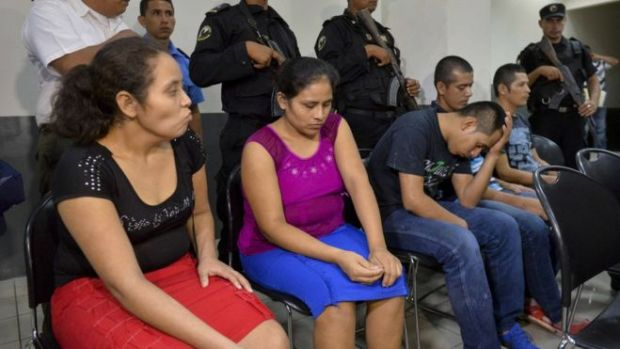 Pastor Juan Rocha (with head in hands) and his four followers were tried in the town of Managua.jpg