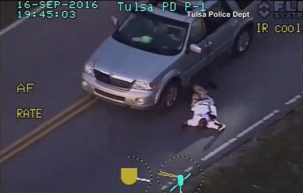 Terence Crutcher was shot with his arms raised